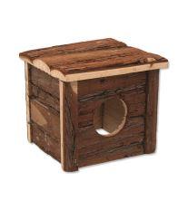 Domček SMALL ANIMAL drevený s kôrou 15,5 x 15,5 x 14 cm