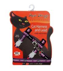 Postroj Red Dingo s vodítkem - fialová se vzorem myš