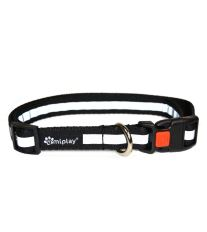 Obojek pro psa nylonový reflexní - bezpečnostní - černý - 2,5 x 53 - 85 cm