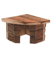 Domček SMALL ANIMAL Rohový drevený s kôrou 16 x 16 x 11 cm