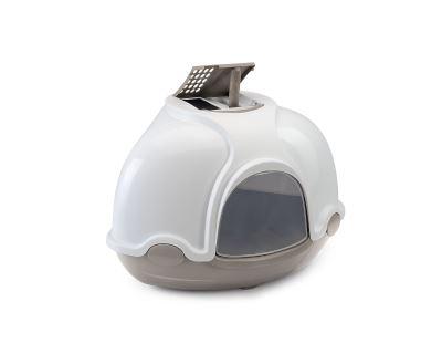 Krytý mačací záchod rohový s filtrom Argi - šedý - 52x52x44,5 cm