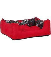 Pelech pre psa Argi obdĺžnikový s vankúšom - červený so vzorom - 55 x 40 x 19 cm