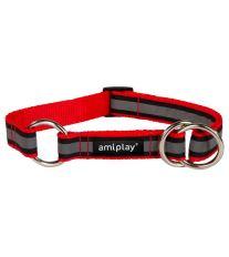 Obojek pro psa polostahovací nylonový reflexní - červený - 1,5 x 25 - 40 cm