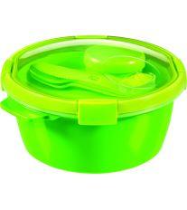 Curver kulatá dóza SMART TO GO 1,6l s příborem, mističkou a táckem zelená