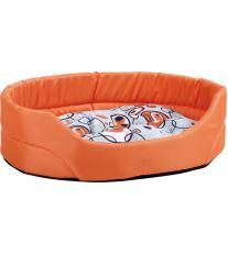 Pelech pro psa oválný s polštářem - oranžový se vzorem - 40 x 30 x 12 cm
