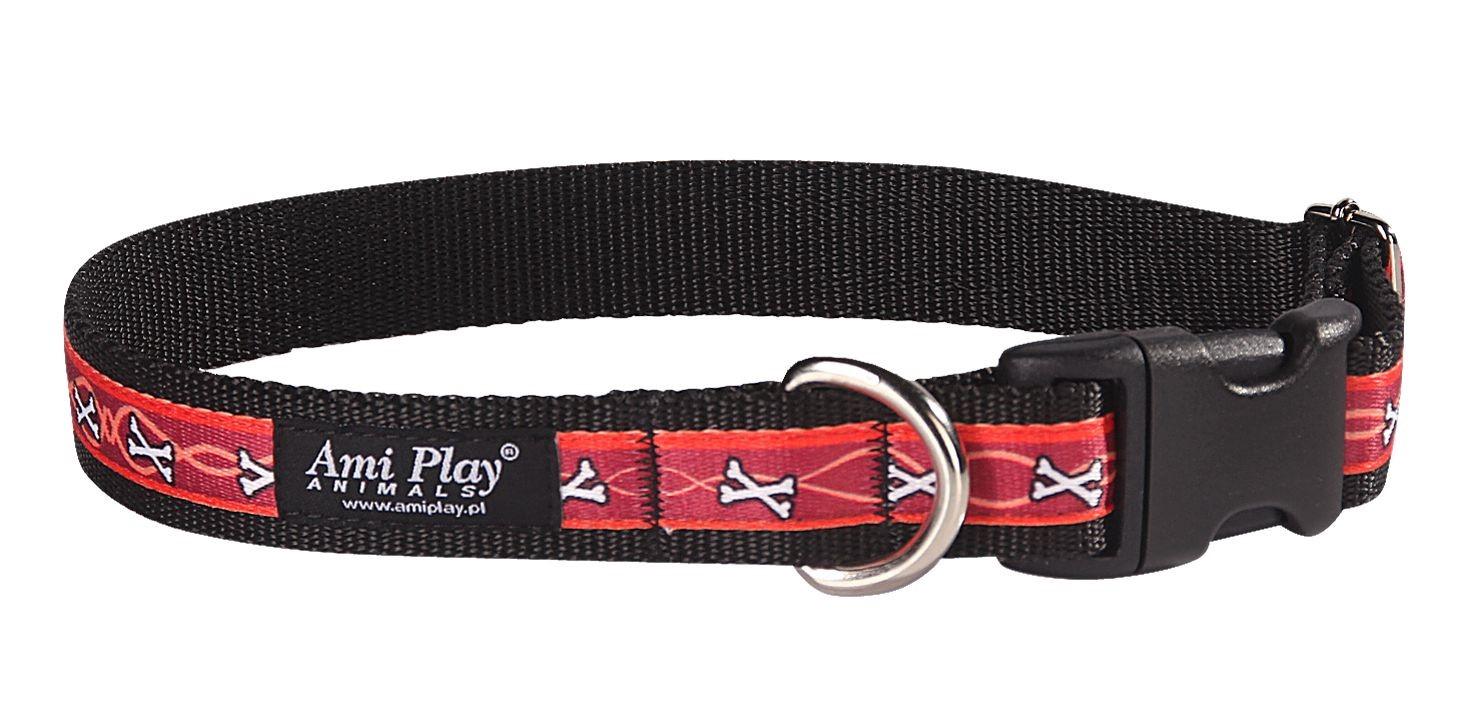 Obojek pro psa nylonový - červený se vzorem kost - 2 98af9e4cae