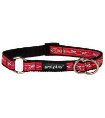 Obojek pro psa polostahovací nylonový - červený se vzorem kost - 2 x 26 - 48 cm