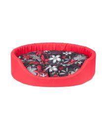 Pelech pro psa Argi oválný s polštářem - červený se vzorem - 58 x 50 x 15 cm