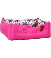Pelech pre psa Argi obdĺžnikový s vankúšom - růžový so vzorom - 76 x 60 x 20 cm