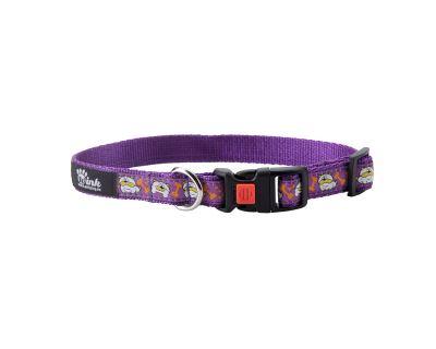 Obojek pro psa nylonový - bezpečnostní - fialový se vzorem pes - 2 x 35 - 50 cm