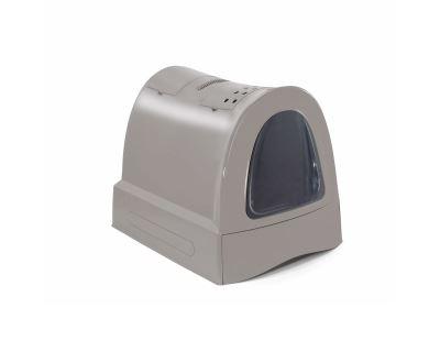 Krytý mačací záchod s výsuvnou zásuvkou pre stelivo Argi - šedý - 40x56x42,5 cm