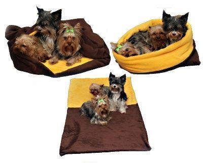 b3d76e8bd8 Marie Brožková MARYS Spací vak 3v1 XXL pre psov a mačky tmavo hnedý so žltou