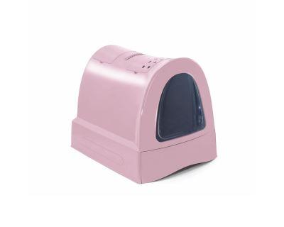 Krytý mačací záchod s výsuvnou zásuvkou pre stelivo Argi - ružový - 40x56x42,5 cm