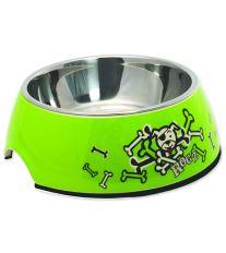 Rogz Bowlz Bubble - Miska pre psov nerezová a plastová Lime Bones, 350 ml