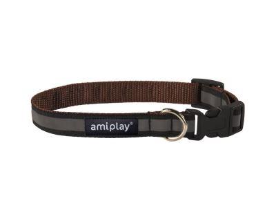 DOPRODEJ - Obojek pro psa nylonový reflexní - hnědý - 2 x 24 - 42 cm