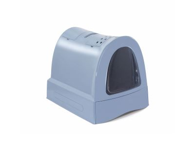 Krytý mačací záchod s výsuvnou zásuvkou pre stelivo Argi - modrý - 40x56x42,5 cm