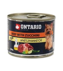 Konzerva ONTARIO Dog Mini Beef, Zucchini, Dandelion and Linseed Oil 200 g