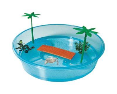 Želvárium Argi plastové kulaté s palmou - 26 x 7,5  cm