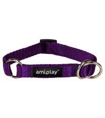 Obojek pro psa polostahovací nylonový - fialový - 2 x 26 - 48 cm