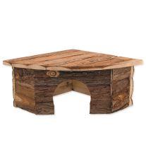 Domček SMALL ANIMAL Rohový drevený s kôrou 30 x 30 x 16 cm