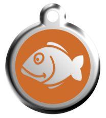 Red Dingo Známka oranžová vzor rybka - veľkosť S, 20 mm