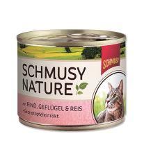 Schmusy Nature Menu konzerva - hovädzie & hydina 190 g