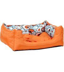 Pelech pre zvieratá Argi obdĺžnikový s vankúšom - oranžový so vzorom - 45 x 35 x 18 cm