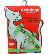 Red Dingo Postroj s vodítkem - kočka- Stars Turquoise