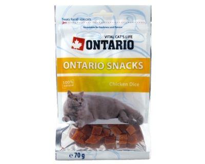 Ontario Snack Chicken Dice - pochúťka kuracie kocky pre mačky 70 g
