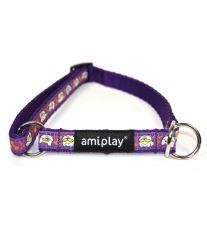 Obojek pro psa polostahovací nylonový - fialový se vzorem pes - 2,5 x 40 - 60 cm