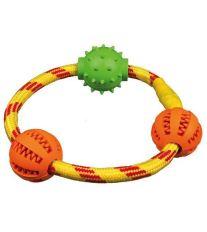 Trixie Dentafun Krúžok z lana s tromi loptičkami, 20 cm