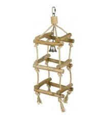 Hračka vták drevo / sisal Veža sa zvončekom Nobby 42 x 12 x 12 cm