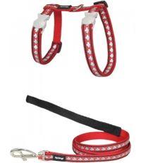 Red Dingo Nylonový postroj s vodítkom pre mačku reflexné červená