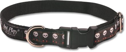 Obojek pro psa nylonový - černý se vzorem lebka - 2 x 24 - 42 cm ... 391861a151