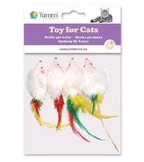 Hračka mačka Myš malá s pierkom 5cm Tommi 4ks