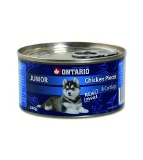 Ontario Junior Chicken Pieces & Cartilage konzerva - kuracie kúsky & chrupavka pre šteňatá 200 g