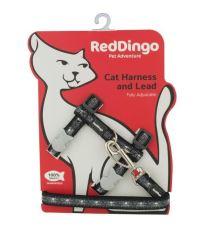Postroj Red Dingo s vodítkem - černá se vzorem lebka