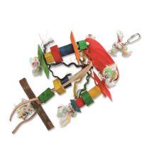 Hračka BIRD JEWEL Tripod závesná drevo - povraz 23 cm