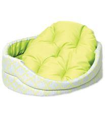 Pelíšek DOG FANTASY ovál s polštářem ornament zelený 84 cm