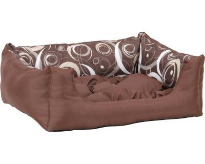 Pelech pre zvieratá Argi obdĺžnikový s vankúšom - hnedý so vzorom - 45 x 35 x 18 cm