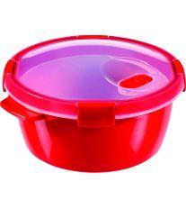 Curver Kulatá dóza SMART MICROWAVE s ohřívací podložkou 1,6l červená