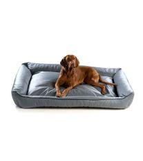 Pelech pre psa Argi obdĺžnikový - odnímateľný povlak z ekokoža - sivý - 120 x 90 cm