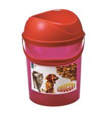 Box na krmivo s miskou Argi - červený - 19,5 x 29,5 cm
