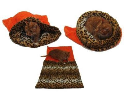 Spací pytel 3v1 XL pro kočky č.2 oranžová/leopard