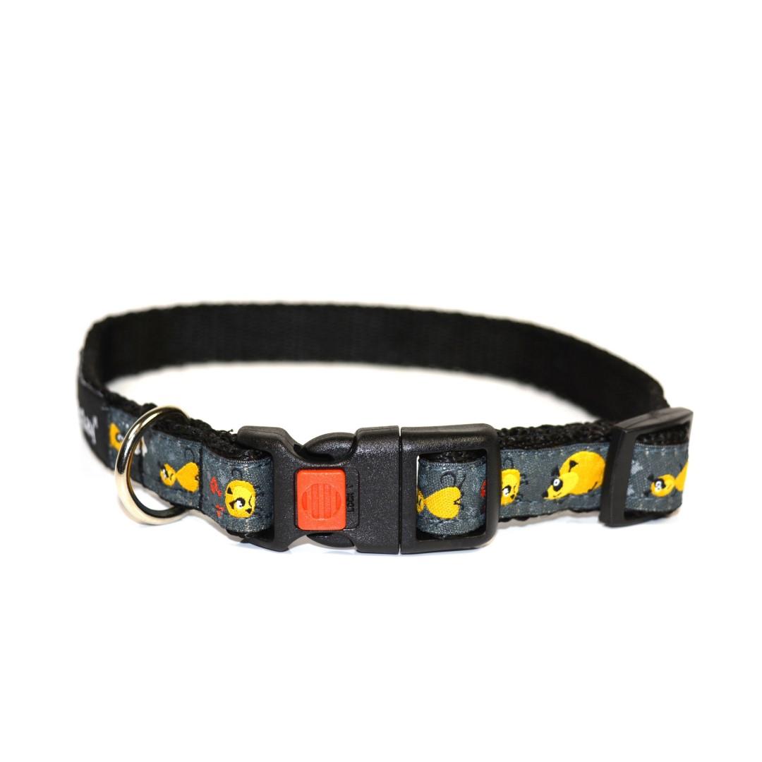 Obojek pro psa nylonový - bezpečnostní - černý se vzorem - 1 79a53450b5