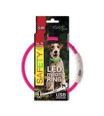 Obojek DOG FANTASY LED nylonový růžový S-M