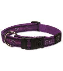 Obojok pre psa nylonový - Rogz Fancy Dress Purple Chrome - 2,5 x 43 - 70 cm