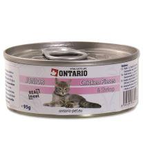 Ontario Junior Chicken Pieces & Shrimp konzerva - kuracie kúsky & krevety pre mačiatka 100 g