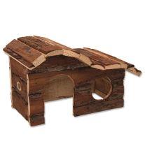 Domček SMALL ANIMAL Kaskada drevený s kôrou 26,5 x 16 x 13,5 cm