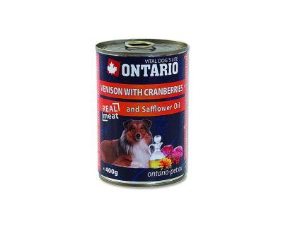 Ontario Venison, Cranberries, Safflower Oil konzerva - zverina, brusnica & požltový olej pre dospelých psov
